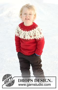 Red Nose / DROPS Children - Knitted jumper for babies and children with round yoke in DROPS Merino Extra Fine. The piece is worked top down with Nordic pattern. Baby Knitting Patterns, Baby Cardigan Knitting Pattern Free, Knitted Baby Cardigan, Knit Baby Sweaters, Toddler Sweater, Christmas Knitting Patterns, Knitting For Kids, Free Knitting, Drops Design
