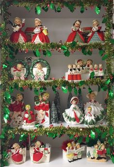 🌟Tante S!fr@ loves this📌🌟Vintage Christmas Figurine Collection Display by leann Antique Christmas, Christmas Past, Vintage Christmas Ornaments, Vintage Holiday, Winter Christmas, Christmas Crafts, Xmas, Vintage Christmas Decorating, Retro Christmas Decorations