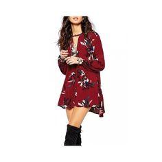 Elegant Women Ruffle Floral Printed Lantern Sleeve Asymmetry Loose... ($11) ❤ liked on Polyvore featuring dresses, chiffon dresses, wine red, short chiffon dress, long sleeve short dress, red chiffon dress, long sleeve dress and red floral dress