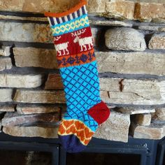 Hand Knit Christmas Stocking with Oatmeal by WarmedbytheHearth, $75.00