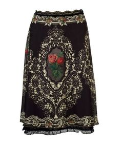Michal Negrin Skirt of Brown Chiffon Lycra, Lining Lace