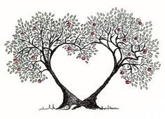 heart shaped tree tattoo - I would change the apples for birds.