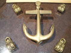 Vintage Nautical Solid Brass Anchor Door Knocker And Set of  Solid Brass Blocks Shipping Included Compass Rose Maritime Merchants. $49.95, via Etsy.