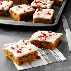 Capture the sweet flavors of autumn in easy recipes for pumpkin bars, apple pies, spice cookies, cranberry cobblers and more fall desserts. Pumpkin Bars, Baked Pumpkin, Pumpkin Dessert, Pumpkin Recipes, Spiced Pumpkin, Pumpkin Pumpkin, Potluck Desserts, Fall Dessert Recipes, Fall Desserts