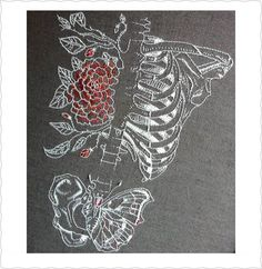 the combination of embroidery and the skeleton is fascinating.and the butterfly looking pelvis! Diy Embroidery, Cross Stitch Embroidery, Embroidery Patterns, Cross Stitch Patterns, Diy Broderie, Fabric Art, Cross Stitching, Textile Art, Needlepoint