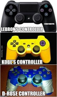 controller lebron, yellow controller kobe only has the shooting button in nba, messed up controller d rose. Funny Nba Memes, Funny Basketball Memes, Basketball Is Life, Nfl Memes, Basketball Pictures, Sports Pictures, Basketball Players, Nba Players, Football Jokes
