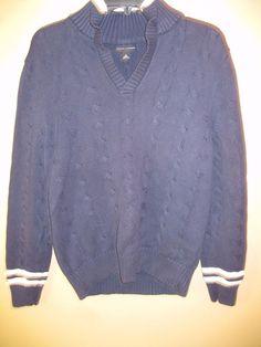 Banana Republic Heavy Blue Sweater w/White Trim Cotton Sz M #BananaRepublic #VNeck