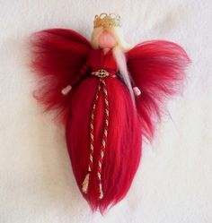 Needle Felted Wool Red Christmas Angel X-MAS Ornament Faeries Fairy Doll Soft…