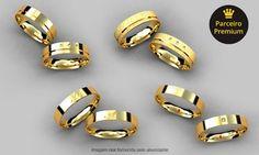 Groupon - Falm Jóias-S. Bernardo do Campo:anel solitário em ouro amarelo 18k e diamante ou par de alianças com 4 modelos à escolha em Falm Jóias. Preço da oferta Groupon: R$359