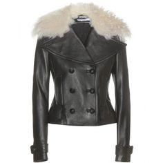 Altuzarra Fur-Trimmed Leather Jacket (47 035 ZAR) ❤ liked on Polyvore