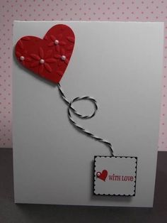 DIY Valentine Cards - Cute Card with Baker's Twine and Felt
