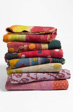 One-of-a-kind Kantha throws quilted from reclaimed cotton saris by female artisans in villages throughout India. | Nordstrom