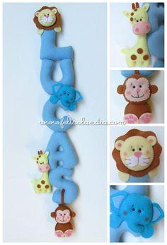 Enfeite de porta para a maternidade com o nome do bebê no tema  Safári  www.feltrolandia.iluria.com