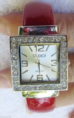 LADIES STUDIO TIME RED BANGLE WATCH WITH RHINESTONE CRYSTALS #StudioTime #Casual