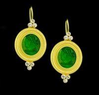 Carolyn Tyler Trio Venetian Glass & Sapphire Earrings Brilliant Green Venetian Glass is adorned with six bezel set round white Sapphires