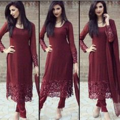 Georgette Border Work Maroon Semi Stitched Pant Style Suit - RT015