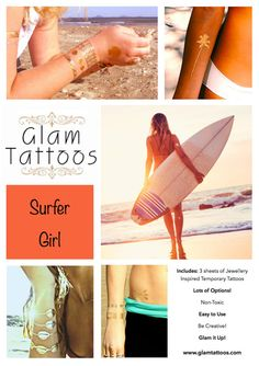 Glam Tattoos Surfer Girl Collection Free by GlamTattoos on Etsy, $18.00