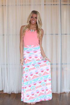 Pastel Aztec Maxi Skirt