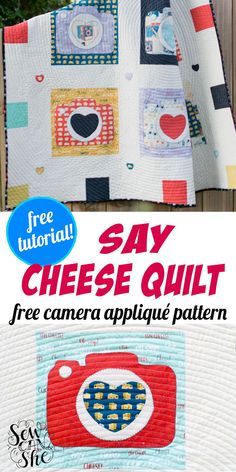 This say cheese camera appliqué quilt is super adorable because it is made of adorable and colorful fabrics filled with vintage camera, texty prints, and cheeses. Sewing this camera appliqué pattern quilt is easy as it looks. #quilt #quiltpattern #freepattern #freesewingpattern #sewingpattern #easysewing Applique Patterns, Applique Quilts, Applique Designs, Sewing Patterns Free, Free Sewing, Quilt Patterns, Free Pattern, Easy Sewing Projects, Cool Diy Projects
