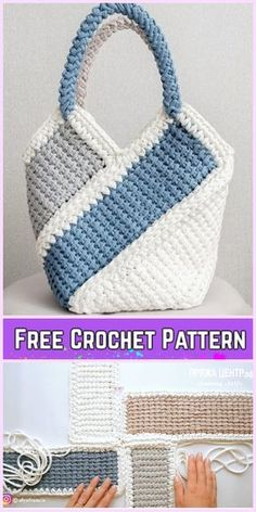 T-shirt yarn Tunisian crochet handbag with ten-stitch pattern Free Crochet Pattern-Video, . # crochet handbags free patterns tutorials T-shirt yarn Tunisian crochet handbag with ten-stitch pattern Free Crochet Pattern-Video, Blog Crochet, Free Crochet Bag, Crochet Shell Stitch, Bobble Stitch, Crochet Tote, Crochet Handbags, Crochet Purses, Crochet Baskets, Crochet Slippers