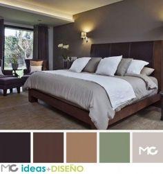 ideas-decorating-marriage-room - How to organize Bedroom Color Schemes, Bedroom Colors, Dream Bedroom, Home Decor Bedroom, Bedroom Ideas, Ideas Decorar Habitacion, Chocolate Bedroom, Master Room, Couple Bedroom