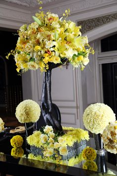 Yellow flowers with black.