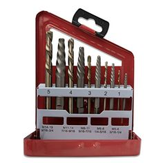Neiko 01925A Screw Extractor and Left Hand Drill Bit Set 10 Piece | Alloy Extractors | Cobalt HSS Drill Bits |