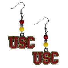 USC Trojans Fan Bead Dangle Earrings