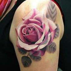 Rose tattoo by Ryan Evans....absolutely gorgeous!