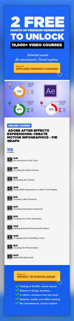 Adobe After Effects Expressions: Create Motion Infographics - Pie Graph Design, Animation, Motion Graphics, Adobe After Effects, Graphic Design, Video Editing, Creative #onlinecourses #LessonPlans #onlinedegreeproducts   This is a unique course about Expressions while building animated infographics. The focus of the animations is based on Pie Graph – with different methods to create animations....