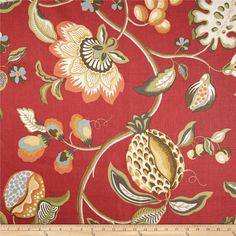 Screen-printed on a linen fabric this versatile medium/heavyweight fabric is perfect for window treatments (draperies, valances, curtains and swags), toss pillows, pillow shams, slipcovers and upholstery. Colors include light yellow, green, charcoal and light blue on a scarlet orange background.