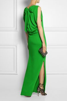 Lanvin|Bow-embellished stretch-crepe gown love