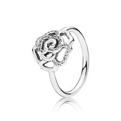 Shimmering Delicate Rose Ring - Sterling Silver with Clear CZ - PANDORA - 190949CZ