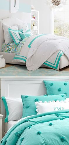 A light and airy cotton crinkle voile in vivid hues to create this cozy bedding. Available in Pool or White Cute Bedding For Teens, Teen Girl Bedding, Girls Bedding Sets, Bedroom Decor For Teen Girls, Luxury Bedding Sets, Teen Girl Bedrooms, Crib Bedding Sets, Modern Bedding, White Comforter Bedroom