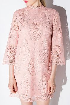 Openwork Lace Hook Pink Dress
