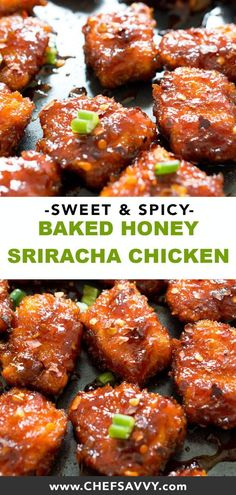 This Asian Inspired Sweet And Spicy Baked Honey Sriracha Chicken Takes Less Than 30 Minutes To Make And Is So Much Better Than Take-Out Add Rice To Make It The Perfect, Quick And Easy Weeknight Meal, Without The Extra Sodium And Calories Honey Sriracha Chicken, Sweet And Spicy Chicken, Spicy Chicken Recipes, Sriracha Sauce, Healthy Chicken Meals, Chicken Recipes For Dinner, Spicy Baked Chicken, Shredded Chicken, Thai Recipes