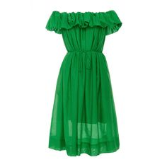 Paule Ka Off the Shoulder Dress with Self Tie Belt ($655) ❤ liked on Polyvore featuring dresses, green, pleated midi dress, green midi dress, green ruched dress, rouched dress and calf length dresses
