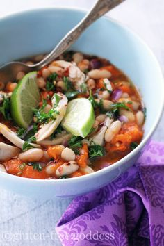 Karina's white chicken chili with sweet potatoes and lime...