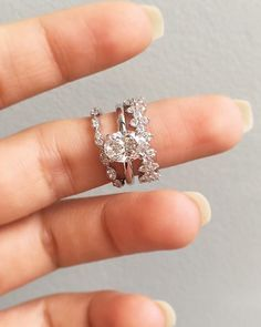 Diamond Wedding Band A unique engagement stack featuring our oval engagement ring Ariya, paired with wedding bands Ava Wedding Rings Simple, Wedding Rings Solitaire, Beautiful Wedding Rings, Beautiful Engagement Rings, Wedding Rings Vintage, Bridal Rings, Wedding Jewelry, Solitaire Diamond, Unique Wedding Bands