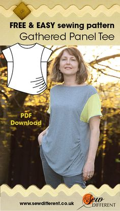 Loose fitting, gathered up one side with an asymmetric hem. The Gathered Panel Tee is a free sewing pattern for women from Sew Different. Very easy to make and available as a PDF download from the website. Happy sewing ! x