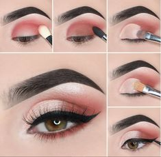 Easy Steps Pink Eye Makeup Tutorial Ideas For Beginners To Look Amazing! - Easy Steps Pink Eye Makeup Tutorial Ideas For Beginners To Look Amazing! Pink Eye Makeup, Simple Eye Makeup, Smokey Eye Makeup, Eyeshadow Makeup, Eyeshadow Ideas, Pretty Makeup, Colourpop Eyeshadow, Glitter Eyeshadow, Colorful Eyeshadow