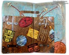 Art Journal: Just Go! Crated labels and suit case