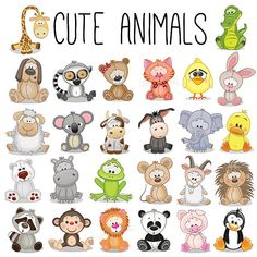 Illustration about Set of Cute Animals on a white background. Illustration of cute, lemur, koala - 65607715 Safari Animals, Baby Animals, Cute Animals, Cartoon Zoo Animals, Woodland Animals, Funny Animals, Cartoon Mignon, Cute Cartoon, Rock Art
