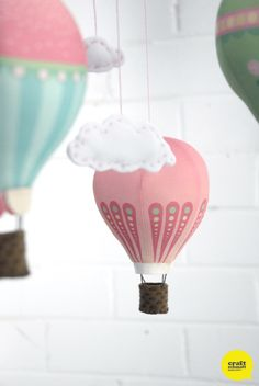 DIY Hot Air Balloon Mobile: Kits and Fabric panels from Craft Schmaft #CraftSchmaftBalloons