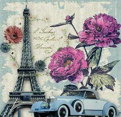 Paris, Eiffel tower, vintage car, roses, daisies.