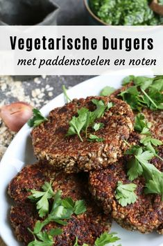 Vegetarian burgers with nuts and mushrooms. Discover the recipe on Beaufood.nl Vega burgers, Prepare veggie burgers yourself, Healthy meal, burgers for health, Beaufood recipes rnrnSource by beaufood Raw Food Recipes, Veggie Recipes, Seafood Recipes, Vegan Vegetarian, Vegetarian Recipes, Vegetarian Burgers, Low Carb Burger, Healthy Summer Recipes, Soul Food