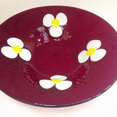 Red Transparent daisy bowl.