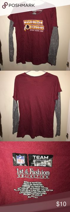 NFL Washington Redskins Shirt XL NFL licensed Washington Redskins long sleeve shirt. Lightweight. Wore twice. Looks new. Has distressed symbol look & layered sleeve look. Smoke & pet free home. Please ask any questions prior to purchase. NFL Tops Tees - Long Sleeve