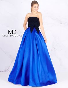 Ball Gowns by Mac Duggal Strapless velvet bodice accented with velvet side bow giving way to a box pleated mikado full skirt. Dressy Dresses, Club Dresses, Strapless Dress Formal, Girls Dresses, A Line Evening Dress, Evening Dresses, Online Dress Shopping, Shopping Sites, Satin Gown
