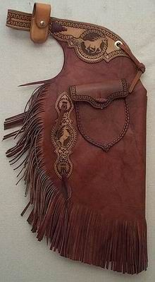 Western Chinks and Armitas Cowgirl Chaps, Cowboy Gear, Cowgirl Style, Cowboy Hats, Leather Art, Leather Tooling, Western Chinks, Shotgun Chaps, Western Riding